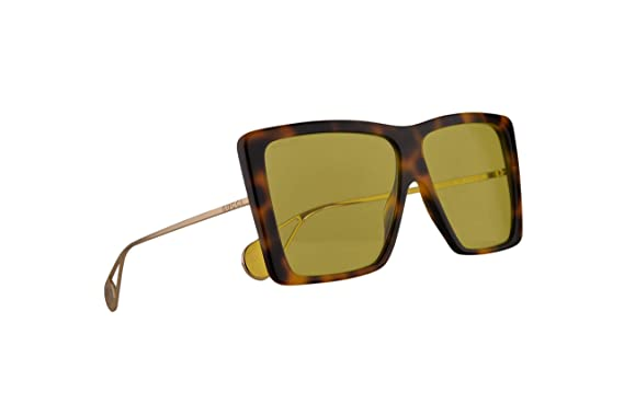 6e5e1596b4d80 Image Unavailable. Image not available for. Color  Gucci GG0434S Sunglasses  Havana Gold w Yellow Lens 61mm 002 ...