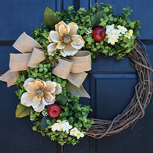 Boxwood Grapevine Wreath with Cream Magnolias, Red Apples, Floral Accents and Burlap Bow for Summer Fall Farmhouse Front Door Decor - Apple Magnolia Wreath