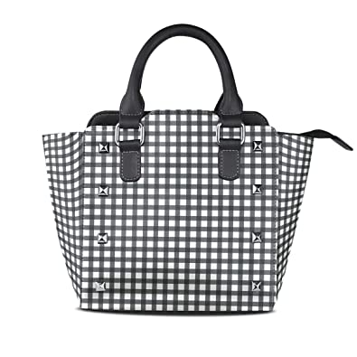 253a8bb8b6fb Image Unavailable. Image not available for. Color  Women Handbag Black  White Buffalo Plaid PU Leather Rivet Shoulder Bag