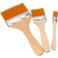Kangkang@ 3 Pcs/Set Wooden Handle Nylon Hair Large Area Brushing Art Paint Oil Painting Watercolor Paint Art Supply…