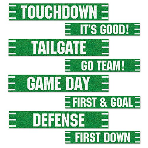 Beistle Football Street Signs Cutouts, 4 by 24-Inch, Green/White]()
