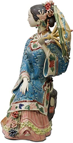 ChinaFurnitureOnline Chinese Porcelain Doll, Sitting Qing Maiden with Umbrella Blue and Pink