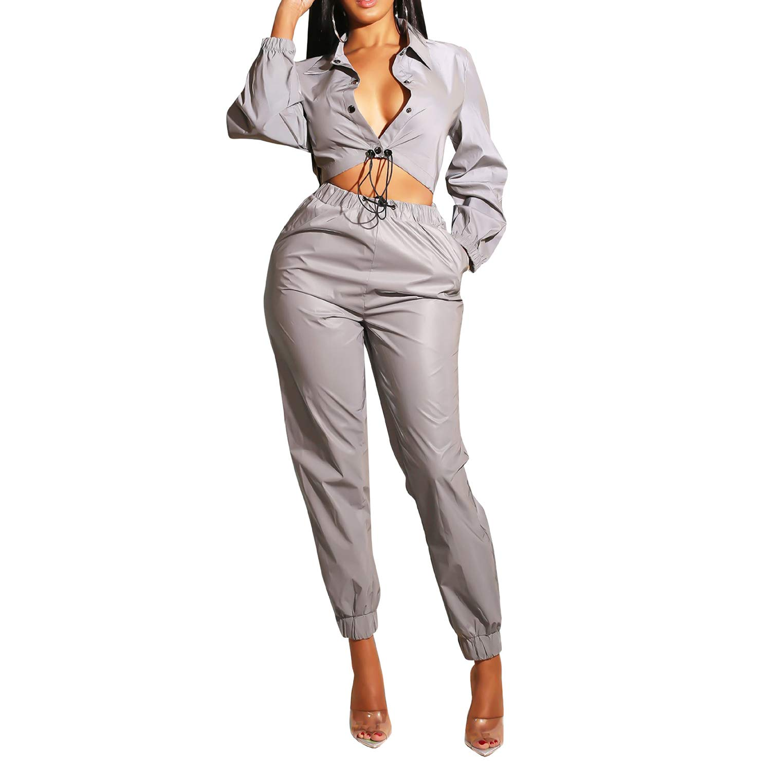 067dff2adf Amazon.com  Women 2 Piece Outfits Tracksuit Buttons Reflective Jacket  Bodycon Jumpsuits Set Clubwear  Clothing