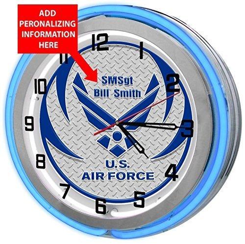 Air Force Custom Double Neon Garage Clock