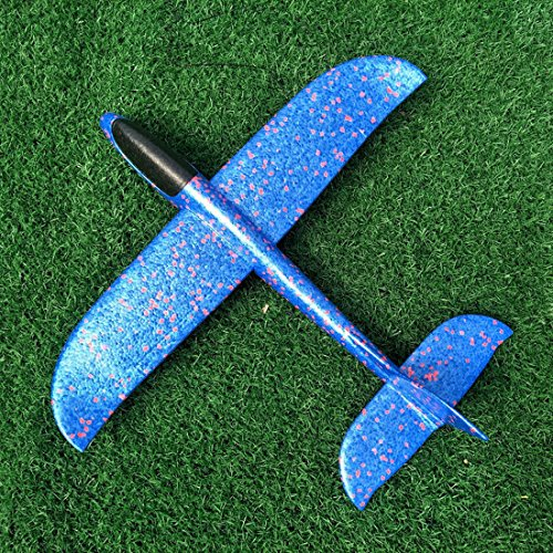 TAYARA Airplanes Throwing Styrofoam Foam Kids Toys Hand Manual Flying Glider Model Planes Airplane Outdoor Fun for Game Launch Big Size Aircraft DIY Inertial Educational (Light Blue, 18.90 Inch)