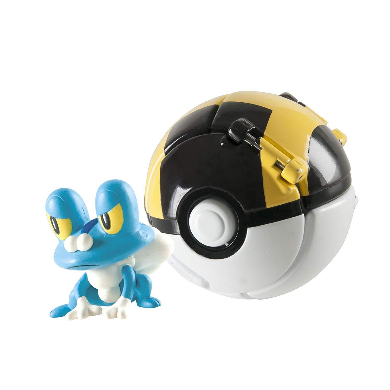 DUDEL Pok/émon Clip N Pop Pok/é Ball,Pok/émon Ball with Pokemon Figures Pokemon Toys Set for Kids 4 Packs Ball and 4 Action Figure