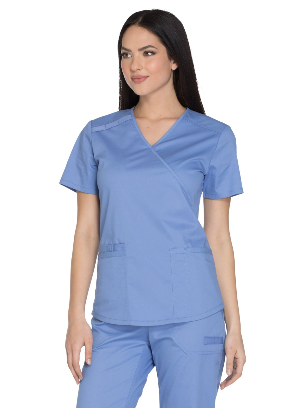Cherokee Core Stretch Workwear Women's Mock Wrap Solid Scrub Top Small Ciel
