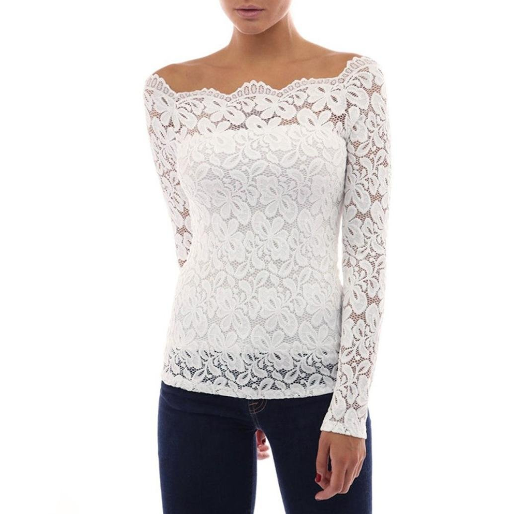 Ecurson Sexy Womens Lace T-Shirt Long Sleeve Casual Loose Tops Blouse (XL)