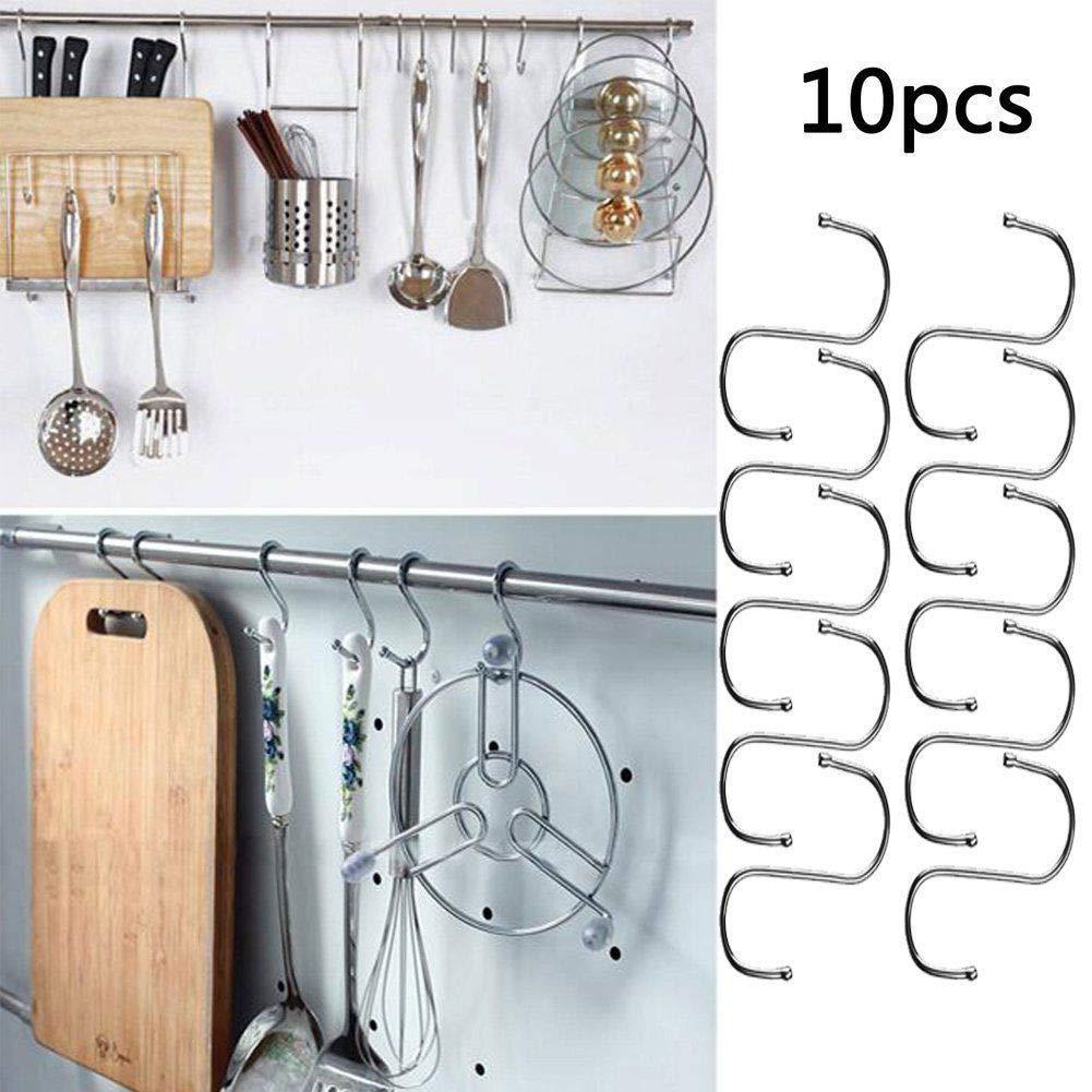 OurLeeme 10Pcs Potente acero inoxidable S gancho forma Estante de la herramienta Bote Casa Cocina Pan gancho de ropa de almacenamiento