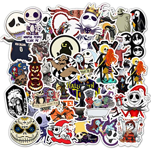 🥇 Halloween Theme Stickers Laptop Stickers The Nightmare Before Christmas and Tim Burton's Sticker Waterproof Bike Skateboard Luggage Decal Graffiti Patches Decal 50 PCS