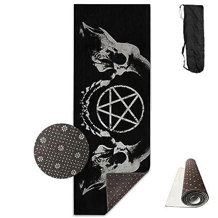 shop for half off nice cheap Amazon.com : Gothic Occult Satan Penta Symbol Skull Yoga Mat ...