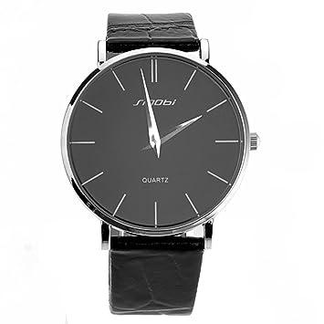 PIXNOR Ultra delgado ronda hombres chicos cuarzo reloj de pulsera (negro)