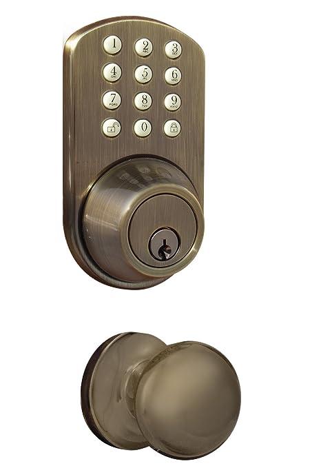Delicieux MiLocks TFK 02AQ Digital Deadbolt Door Lock And Passage Lever Handle Combo  With Keyless Entry Via Keypad Code For Exterior Doors, Antique Brass      Amazon. ...