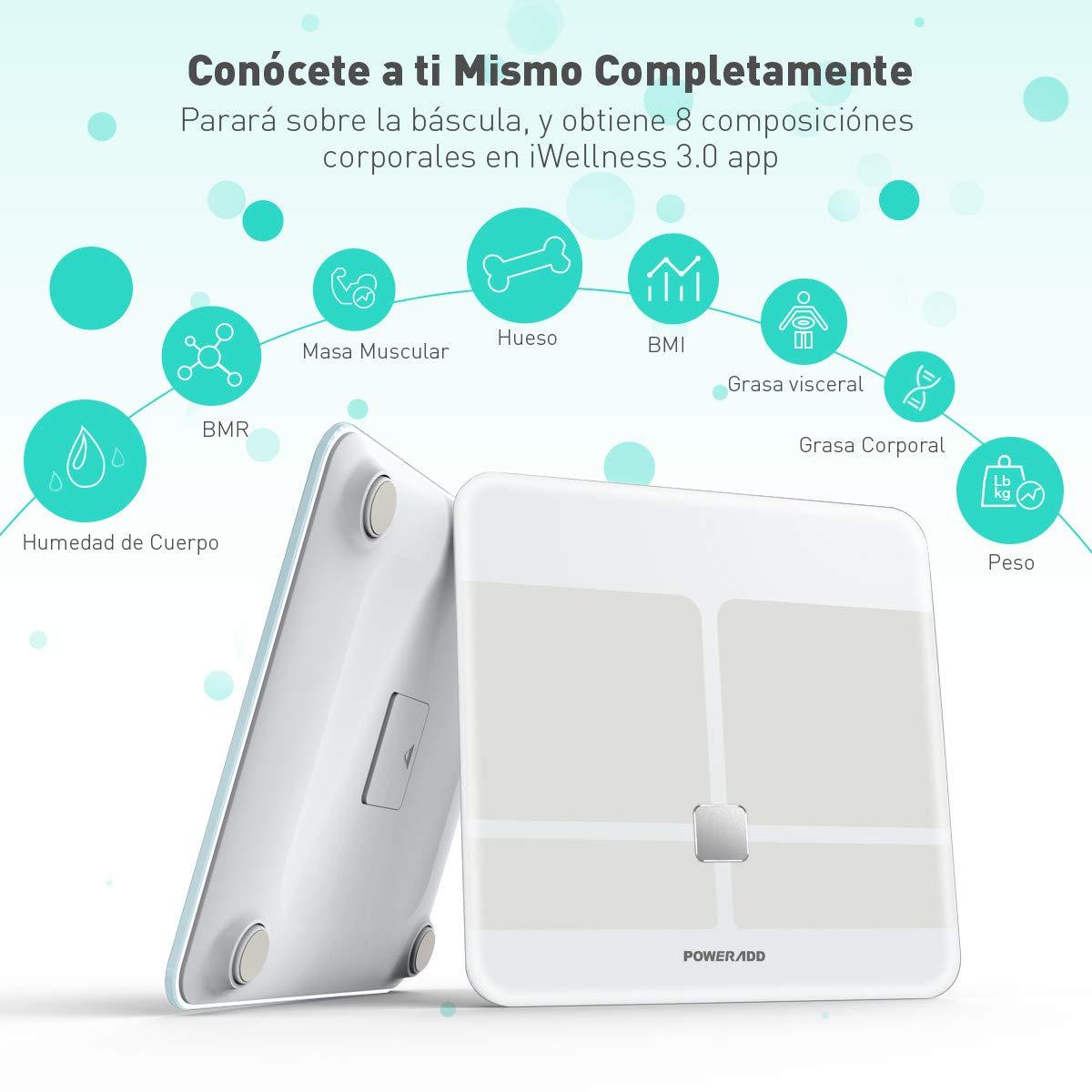 POWERADD Báscula Digital con Bluetooth 4.0 y la tecnología avanzada BIA con Color Blanco: Amazon.es: Salud y cuidado personal