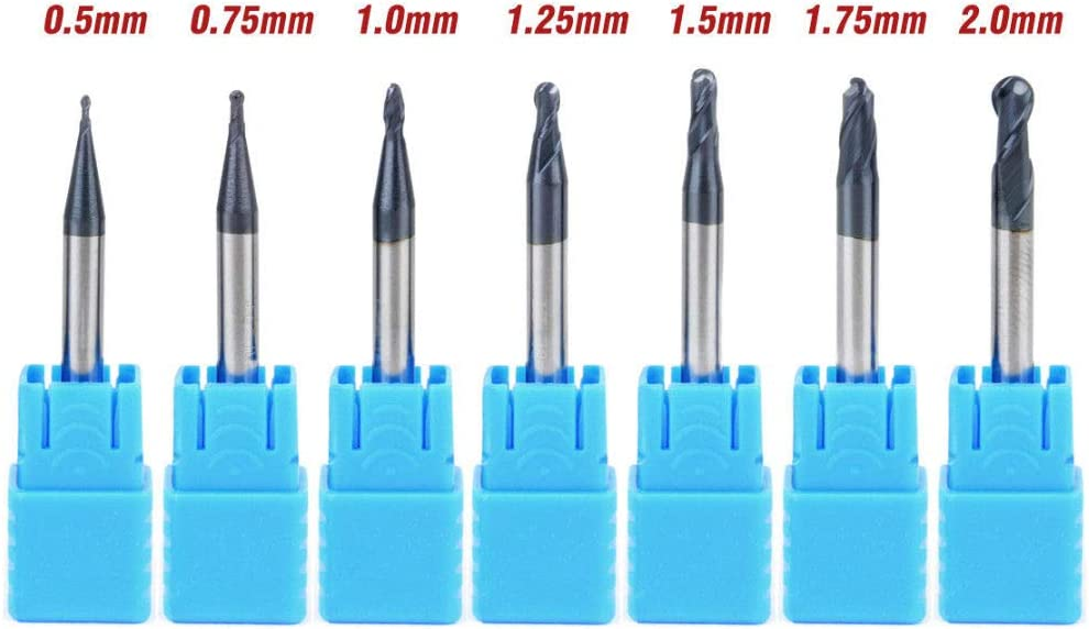 0.5mm HRC50 Solid Carbide Nitrogen Coated 2 Flutes Ball Nose End Mill CNC Tool