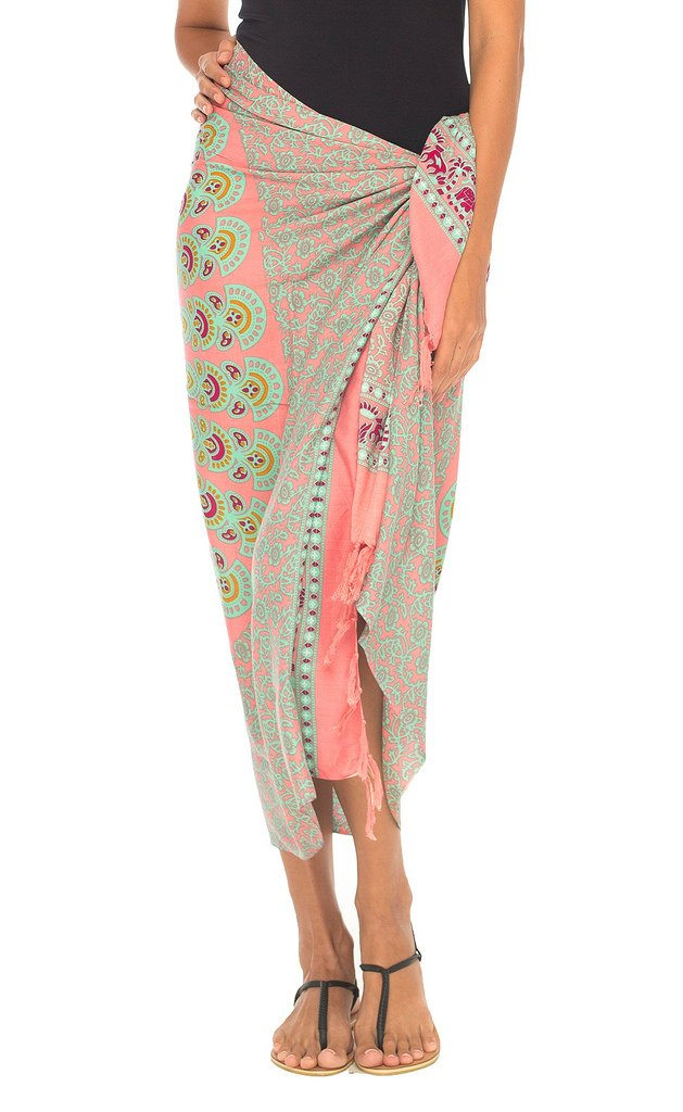 SHU-SHI Womens Beach Swimsuit Cover up Mandala Sarong Wrap with Coconut Clip