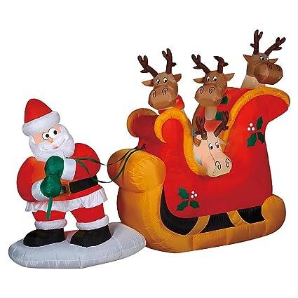 amazon com christmas inflatable santa pulling reindeer in sleigh