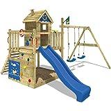 WICKEY Tour de jeux Smart Lodge Aire de jeux en bois Portique pour jardin Maison arboricole avec double balançoire, grand bac à sable, toit en bois, mur d'escalade + toboggan bleu