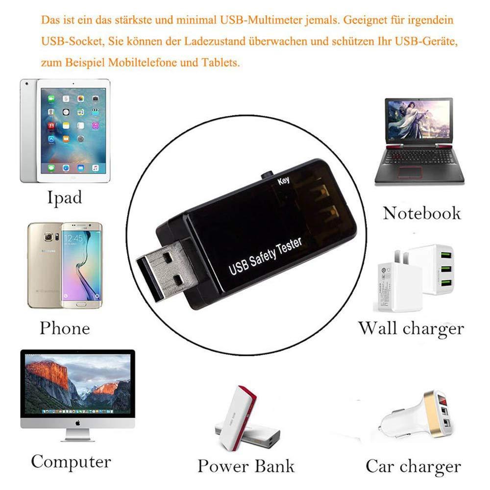 mAh Tiempo Capacidad de resistencia Wh y Potencia W Voltaje Mult/ímetro USB QC2.0 QC3.0 Probador Corriente A Energ/ía V segundos Temperatura