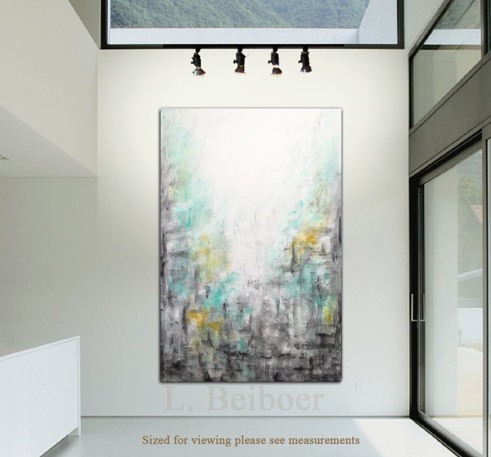 Amazon.com: 40 X 60 Big Abstract Painting Original Large Art Green Gray  Yellow Painting Abstract Wall Art Contemporary Oil Painting By L.Beiboer:  Handmade