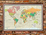 30x48 World Wall Map by Smithsonian Journeys - Tan Oceans Edition - Push Pin Travel Map Walnut Framed (30x48 Framed)