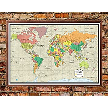 Amazon 32x50 rmc world classic wall map framed edition office 30x48 world wall map by smithsonian journeys tan oceans edition push pin travel map walnut framed 30x48 framed gumiabroncs Images