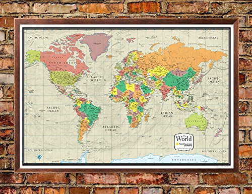 24x36 World Wall Map by Smithsonian Journeys - Tan Oceans Edition - Push  Pin Travel Map Walnut Framed (24x36 Framed)