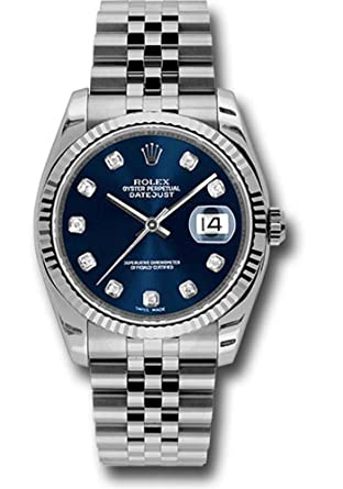 db91b04781a Amazon.com: Rolex Oyster Perpetual Datejust 36mm Stainless Steel Case, 18K  White Gold Fluted Bezel, Blue Dial, Diamond Hour Markers And A Jubilee  Bracelet.