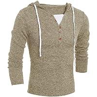 XQY Abrigo de otoño e invierno Suéter-sudadera Color liso para hombres Estilo delgado Ropa para hombres Botón Usualmente usa camisa de manga larga para hombres,S