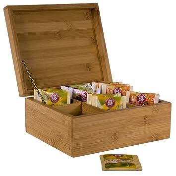 Boite a the en bambou - 6 compartiments - Rangement pour sachets ...