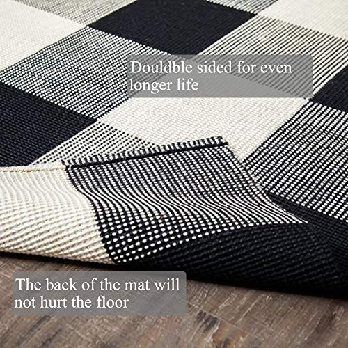 Buffalo Check Door Mat Black and White Outdoor Rug 27.5 x 43 Inches Hand-Woven Cotton Plaid Indoor/Outdoor Rug for Layered Door Mats,Welcome Door Mat, Front Porch,Farmhouse,Kitchen,Entry Way