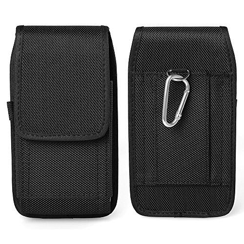 (Horizontal/Vertical Belt Loop Nylon Cell Phone Pouch Holster Case w/Belt Carabiner Clip for Galalxy S10e / S9 / S8 / J3 Orbit / J3 Pro / J5 Prime, Blu A5)