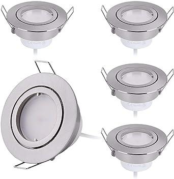 5er 7W LED Einbaustrahler 230V Flach 3-Stufen Dimmbar 68mm Loch Nickel Gebürstet
