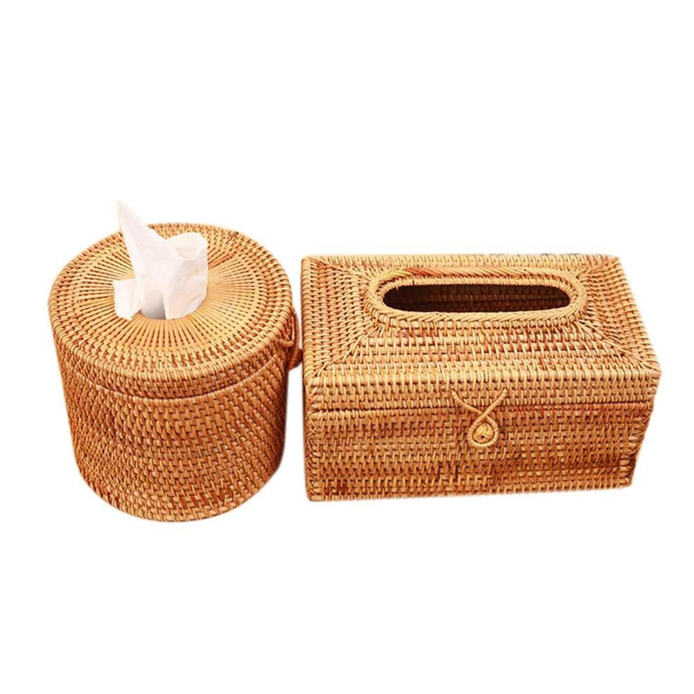 Idyllisch geflochten f/ür Auto Taschentuch-Box B Sue-Supply Taschentuchbox aus Rattan Serviettenhalter