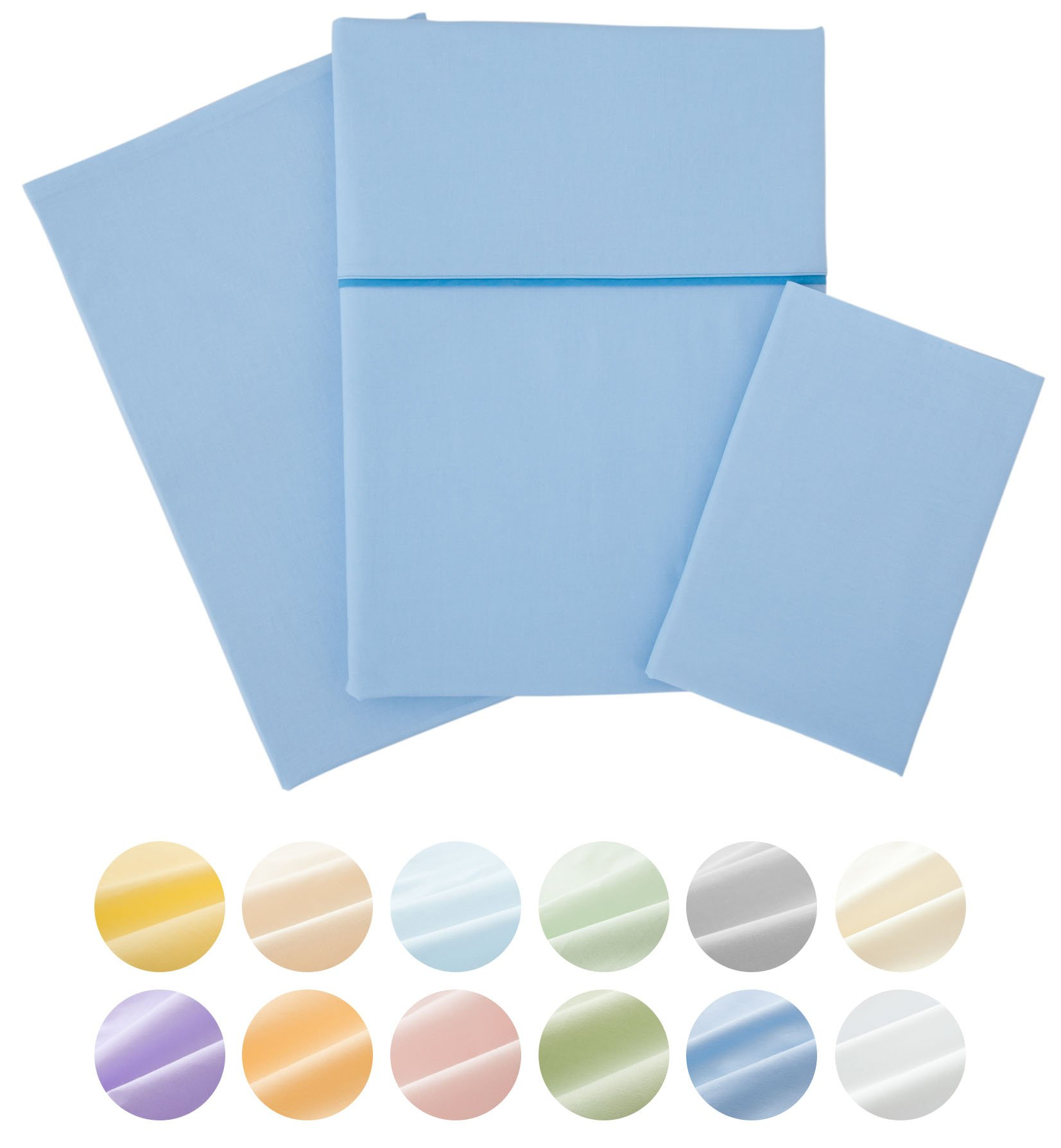 EMOOR 4-Piece 100 % Cotton Bed Cover Set ''Crown Prince'' (SaxeBlue), Full Size. Made in Japan