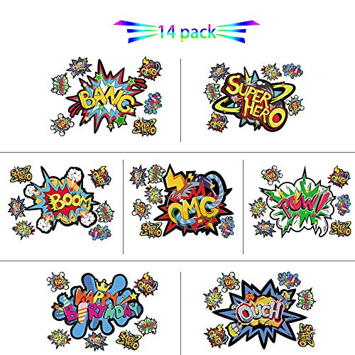 iROLEWIN 14 Large & 84 Small Superhero-Stickers for Kids, Super-Hero Sign-Cutout-Action-Words-Stickers for Birthday-Party Decorative Supplies -