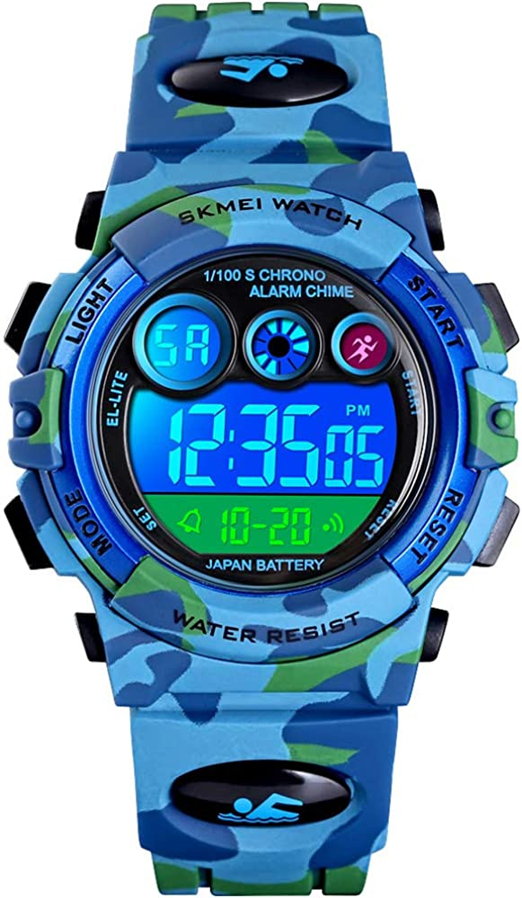 Fanmis Kids Digital LED Sports Watch Waterproof Electronic Casual Military Wrist Camouflage Blue Strap Boys Watch With Silicone Band Luminous Army Watches