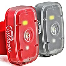 Bright Outdoors LED Safety Lights / Flashlight (2 Pack) Ideal for Running, Dog Walking, Cycling. USB Rechargeable with Bike Strap, Armband, Belt Clip. Blinking, Steady, Red and White Visibility Modes