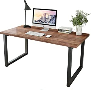 Patavinity Real Wood Computer Desk, 47in Rustic Wood and Metal Writing Desk, Sturdy PC Study Table for Home Office (47'' W x 23'' D x 29'', Pine Wood Desktop with Water-Proof PVC Cover, Oak)