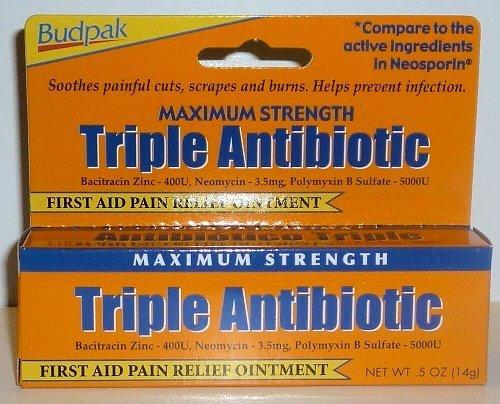 Maximum Strength Antibiotic (Budpak Maximum Strength Triple Antibiotic, New and Improved Ointment 0.5 Oz / 14 G (Pack of 4))