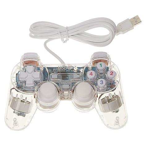USB 2.0 Mando Regulador Controlador Gamepad para Ordenador Portátil PC Tableta Blanco
