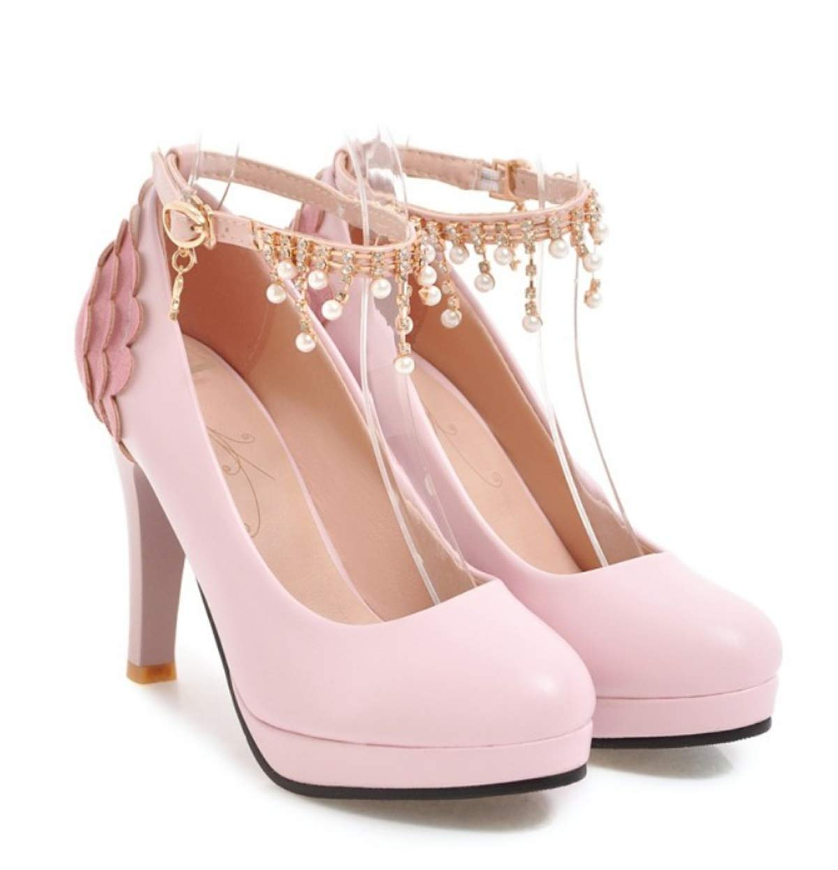 HBDLH Damenschuhe/Frühjahr Damen 11Cm High Heels Damenschuhe Hundert Stiche Wasserdicht Flachen Einzelne Schuhe Mode-Wasser-Diamanten Prinzessin Schuhe