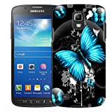 Samsung Galaxy S4 Active Case, Slim Fit Snap On Cover by Trek Highlighted Butterfly Blue on Black Trans Case