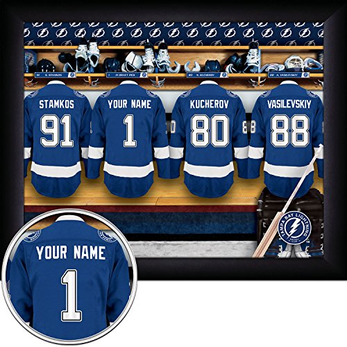 Tampa Bay Lightning Locker Room (Tampa Bay Lightning Personalized NHL Hockey Locker Room Jersey Framed Print 13x16 Inches)