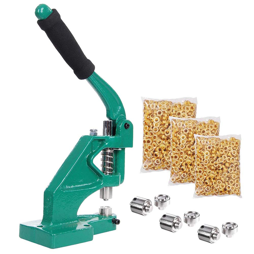 WeChef Free Stand Hand Press Grommet Machine with 3 Die (#0#2#4) and 900 Pcs Golden Grommets Eyelet Hole Tool Kit