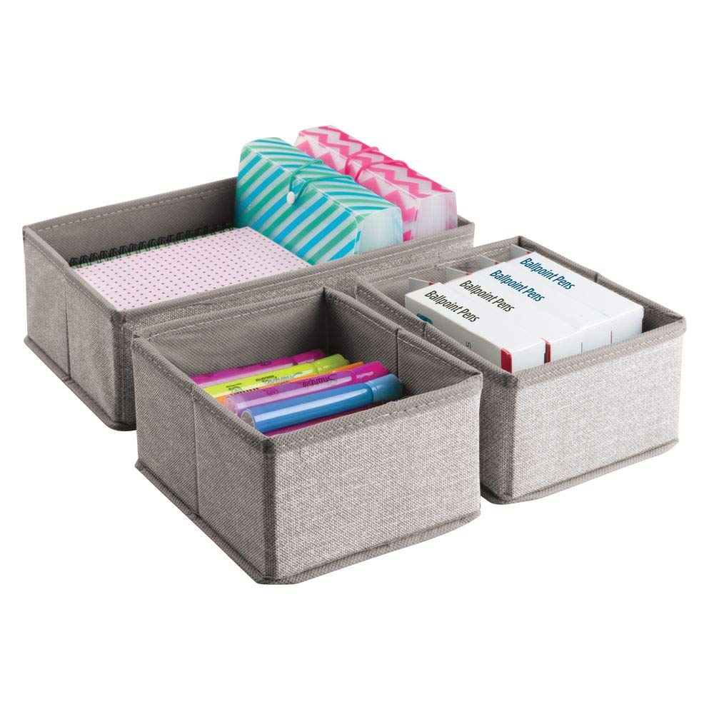 mDesign Set of 3 Drawer Organisers - Fabric Storage Box for Office Utensils - Small Drawer Insert for Pens, Notes, Office Clamps etc. - Beige MetroDecor