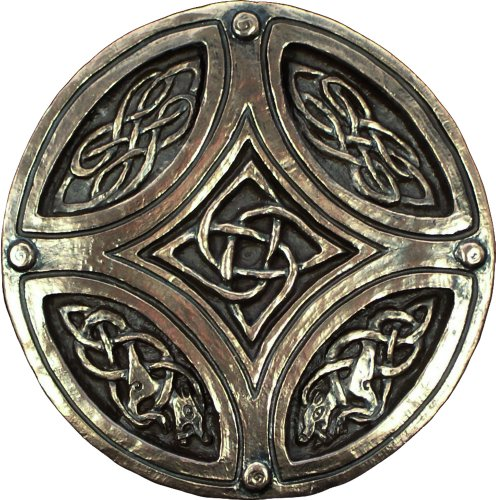 Wild Goose Studios Irish Plaque Celtic Knot Circle Cross Bronze Coated Resin Cast Sturdy 5 Inches Diameter Made In Ireland