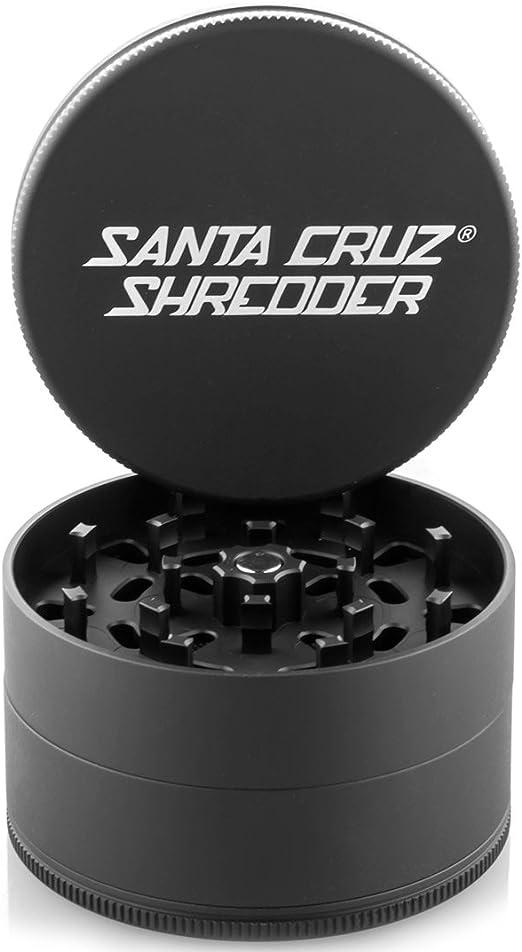 "Large 2.75/"" Black Santa Cruz Shredder Aluminum Herb Grinder 4 Piece Texture Grip"