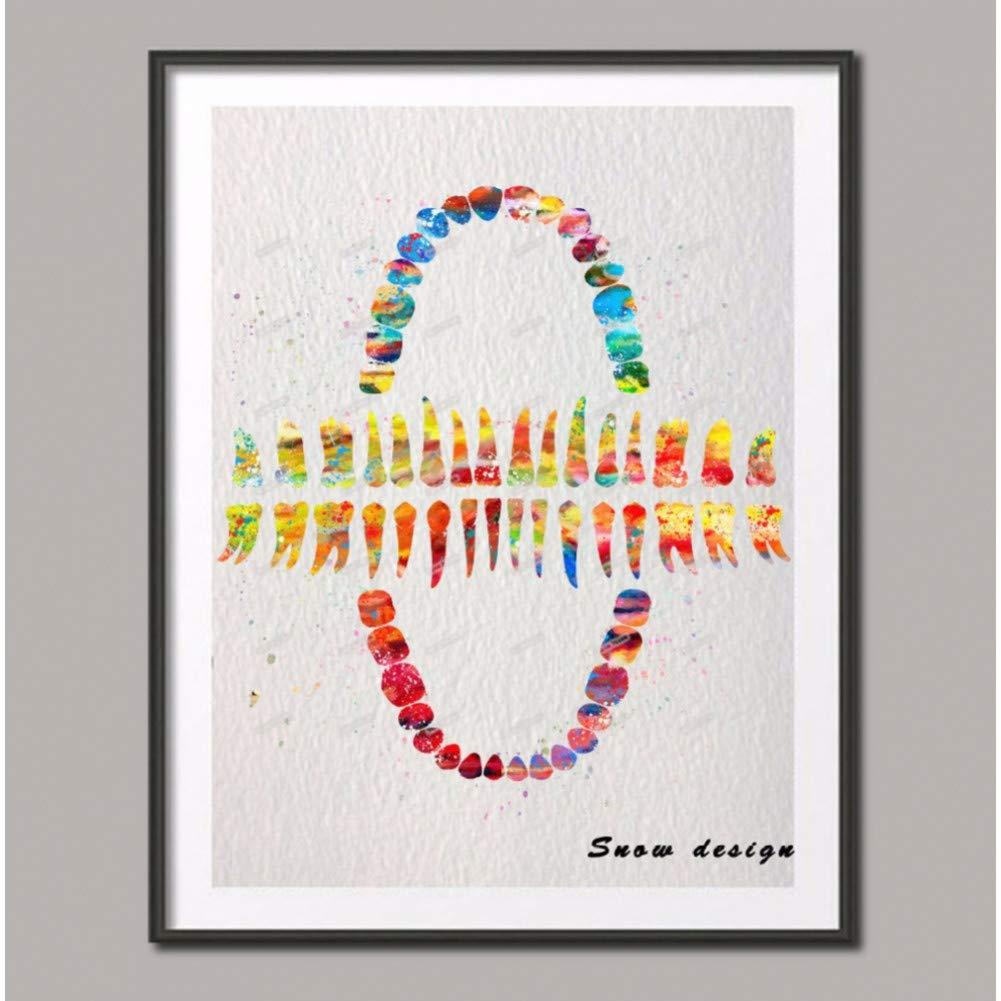 RQJOPE Dekorative Malerei Aquarell menschlichen Z/ähnen Leinwand Nicht Diamant Malerei medizinische Wandkunst Poster drucken Bilder Hochzeit Home Decoration Geschenke-16x24inch