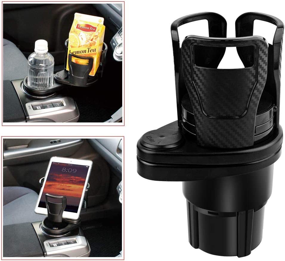 SUNMORN Multifunctional Car Cup Holder, Two in One Design, Drink Can Coffee Bottles Stand, 360°Rotating Base, for Car/Marine/Caravan, Premium Black